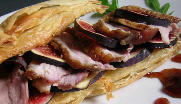 Bradley Smoked Duck Breast & Fresh Fig Tart with Red Currant Relish