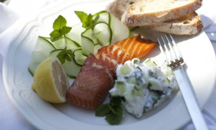 Honey & Lemon Bradley Hot Smoked Salmon Fillet with Tzatziki