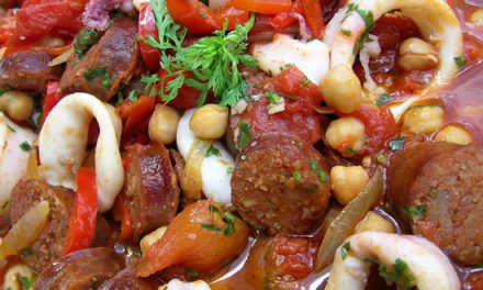 Bradley Smoked Squid, Chorizo, Chickpea & Mediterranean Vegetables