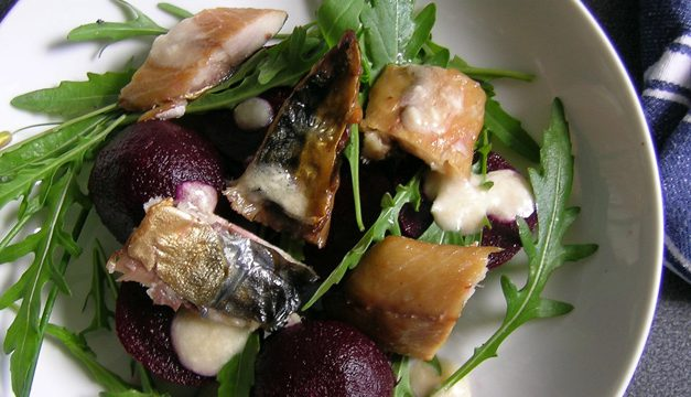 Warm Salad of Smoked Mackerel & Baby Beetroot with Dijon Mustard & Horseradish Dressing
