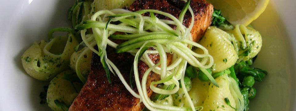 Hot Smoked Cajun Salmon with Pasta, Rocket Pesto & Spring Vegetables