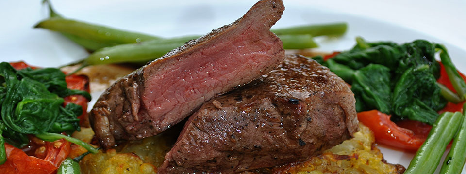 Rare, Smoky Venison Steak on Rosti